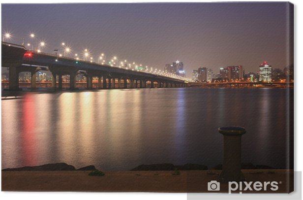 Leinwandbild Nacht von Seoul Stadt von Han Fluss - Themen