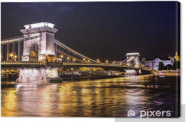 Leinwandbild Nacht von Sicht von der berühmten Kettenbrücke in Budapest, Ungarn. Die - Europa
