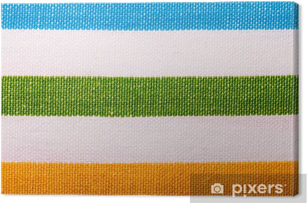 Leinwandbild Nahaufnahme der bunten gestreiften Textil als Hintergrund oder Textur - Texturen
