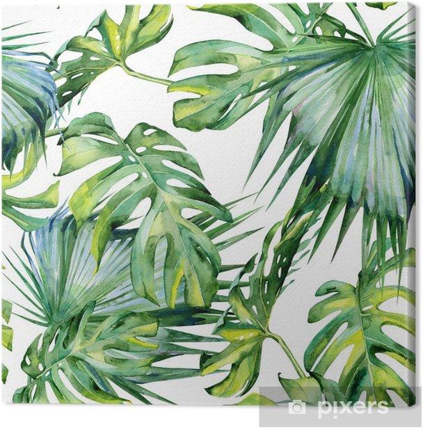 Leinwandbild Nahtlose Aquarellillustration von tropischen Blättern, dichter Dschungel. handgemalt. Banner mit tropischem Sommerzeitmotiv kann als Hintergrundtextur, Geschenkpapier, Textil- oder Tapetendesign verwendet werden. - Pflanzen und Blumen