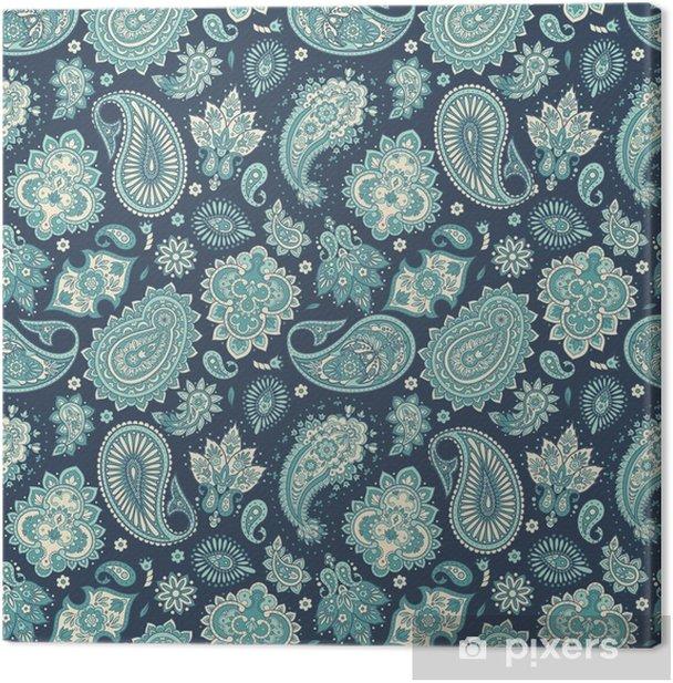 Leinwandbild Nahtlose Blümchenmuster mit Paisley-Ornament. Vektor-Illustration in der asiatischen Textilart - Grafische Elemente