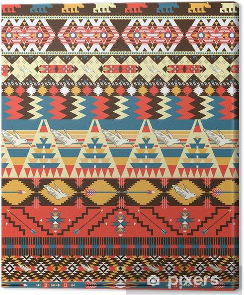 Leinwandbild Nahtlose bunte aztekischer Muster mit Vögeln, Blumen und Pfeil - Stile
