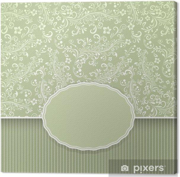Leinwandbild Nahtlose dunkel grün floral Jahrgang Hintergrund - Hintergründe