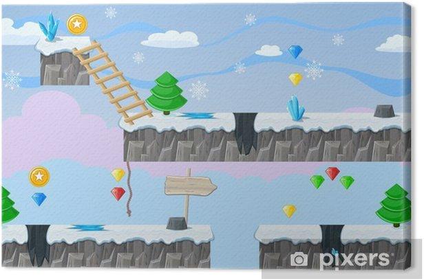 Leinwandbild Nahtlose editierbare Winterlandschaft für Plattform-Spiel-Design - Grafische Elemente