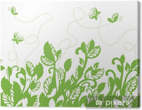 Leinwandbild Nahtlose grüne Laub und Schmetterlinge Grenze - Jahreszeiten