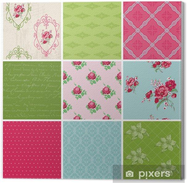 Leinwandbild Nahtlose Hintergrund Collection - Vintage Flowers - für Design - Feste