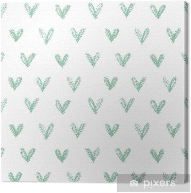 Leinwandbild Nahtlose Muster mit Hand gezeichnete Herzen - Fröhlichkeit