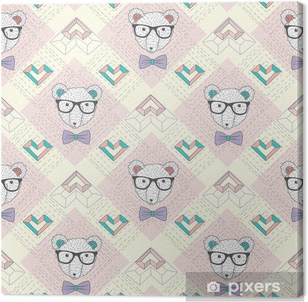 Leinwandbild Nahtlose Muster mit hipster Eisbär und Herzen. Nette backgr - Lifestyle