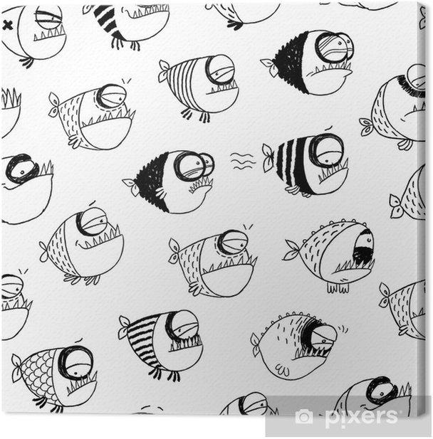 Leinwandbild Nahtlose Muster mit lustigen Fisch - Hintergründe