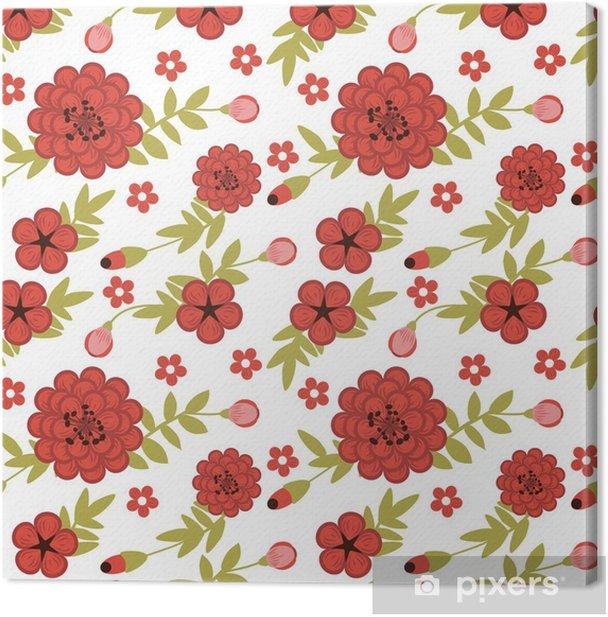 Leinwandbild Nahtlose Muster mit weiblichen Garten mit roten Blumen - iStaging 2