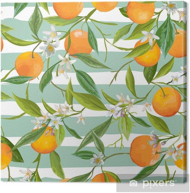 Leinwandbild Nahtlose Muster. orange Früchte Hintergrund. Blumenmuster - Landschaften