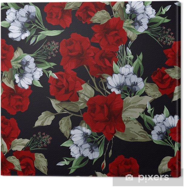 Leinwandbild Nahtlose Vektor floralen Muster mit Rosen, Aquarell - Hintergründe