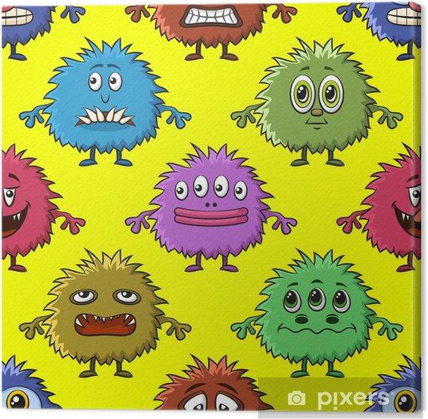 Leinwandbild Nahtloser Hintergrund für Ihr Design mit verschiedenen Cartoon-Monster, bunte Fliesenmuster mit niedlichen lustigen Figuren. Vektor - Grafische Elemente