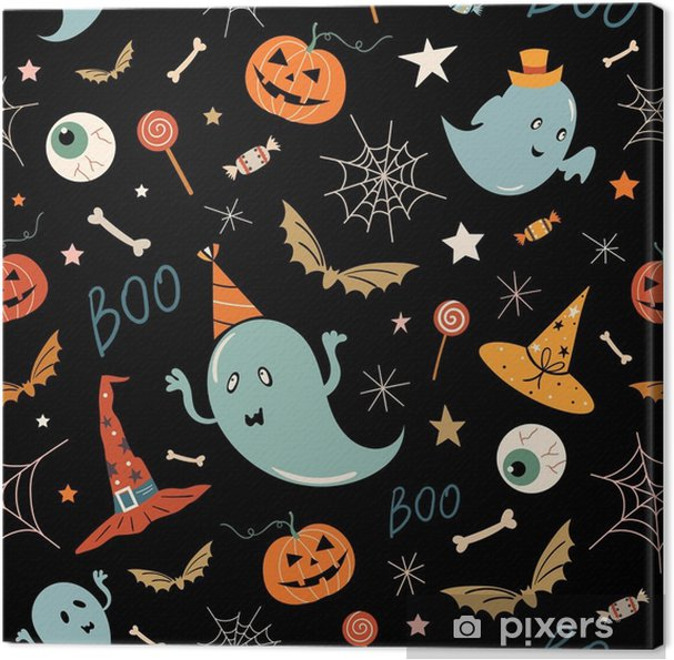 Leinwandbild Nahtloses Muster Halloweens mit Hand gezeichneten Elementen, Geistern und Kürbisen, Vektor entwerfen - Grafische Elemente