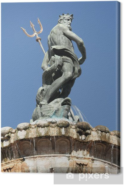 Leinwandbild Neptunbrunnen in italienischen Stadt Trento - Europa