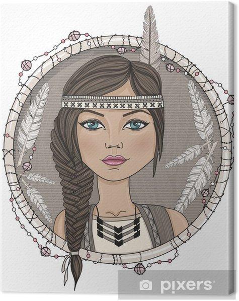 Leinwandbild Nette native american Mädchen und Federn Rahmen. - Kinder