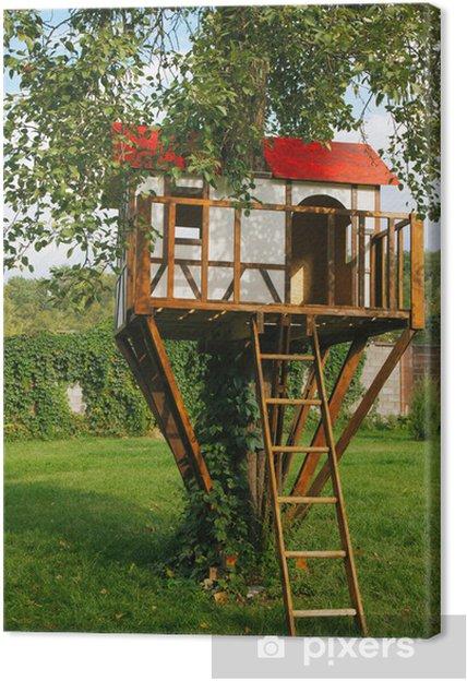 Leinwandbild Nettes Kleines Baumhaus Fur Kinder Auf Hinterhof