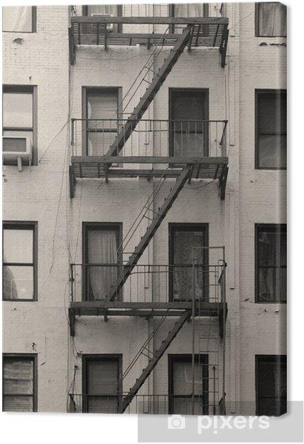 Leinwandbild New York City Wohnung Treppe Schwarz Und Weiss