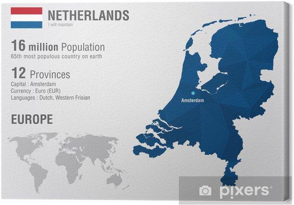 Niederlande Karte Welt.Leinwandbild Niederlande Weltkarte Mit Einem Pixel Diamant Struktur