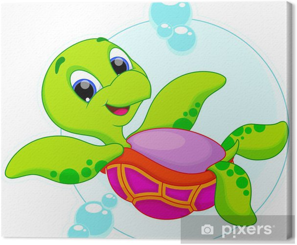 Leinwandbild Niedlichen Schildkröte auf den Kopf schwimmen - Andere Andere