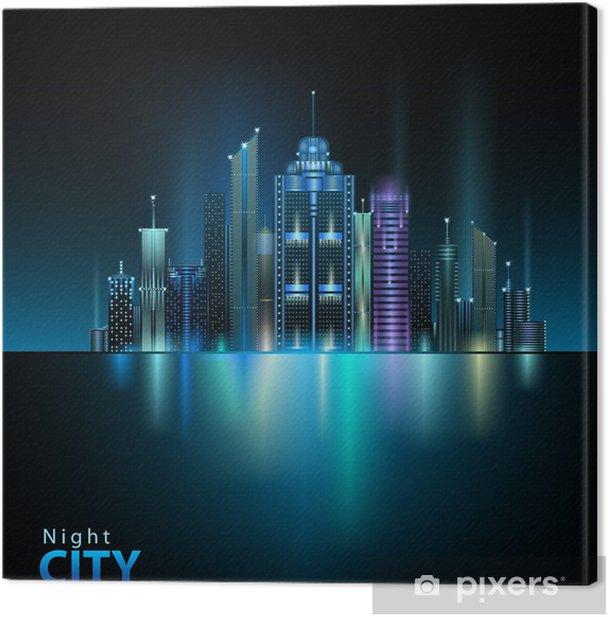 Leinwandbild Night city - Private Gebäude