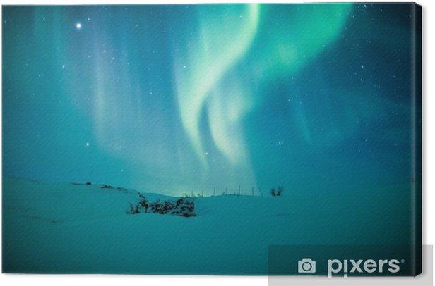 Leinwandbild Nordlichter (Aurora borealis) über Schnee - Themen