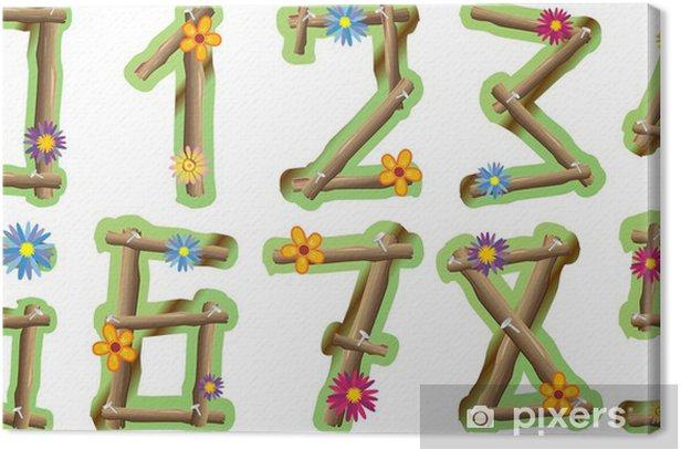 Leinwandbild Numeri Fiori e Legno-Holz und Blumen Zahlen-Vektor- - Naturwissenschaften