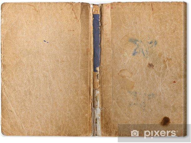 Leinwandbild Offenes Buch mit beschädigten Rückgrat - isoliert auf weiß - Texturen