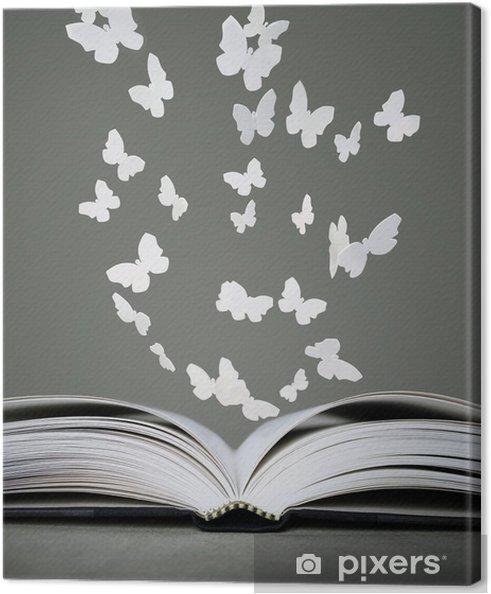 Leinwandbild Offenes Buch Und Schmetterlinge Pixers Wir Leben