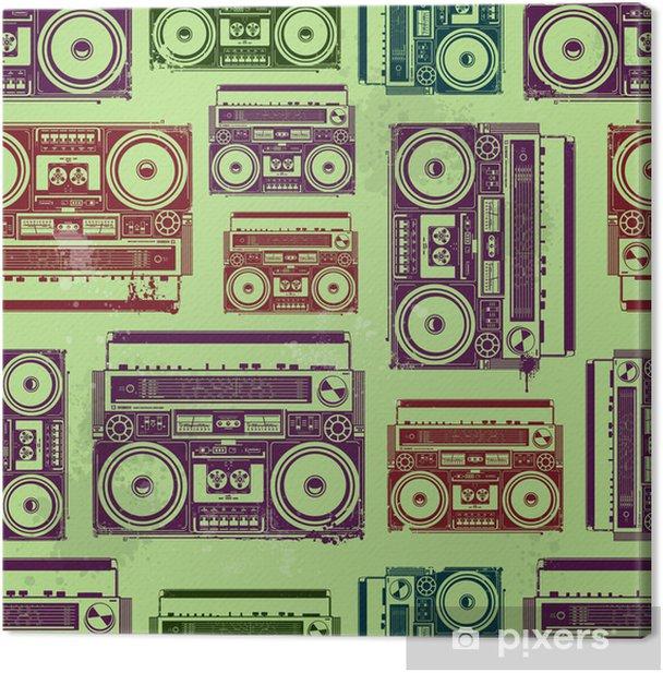 Leinwandbild Old-School-Tonbandgeräte im psychedelischen Stil - Texturen