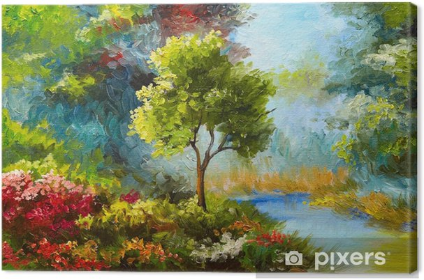 Leinwandbild Ölgemälde, Blumen und Bäume in der Nähe des Flusses, Sonnenuntergang - Hobbys und Freizeit