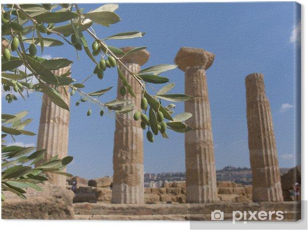 Leinwandbild Olivenzweig und griechische Spalte - Urlaub