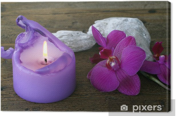 Leinwandbild Orchidee und Kerze - Blumen
