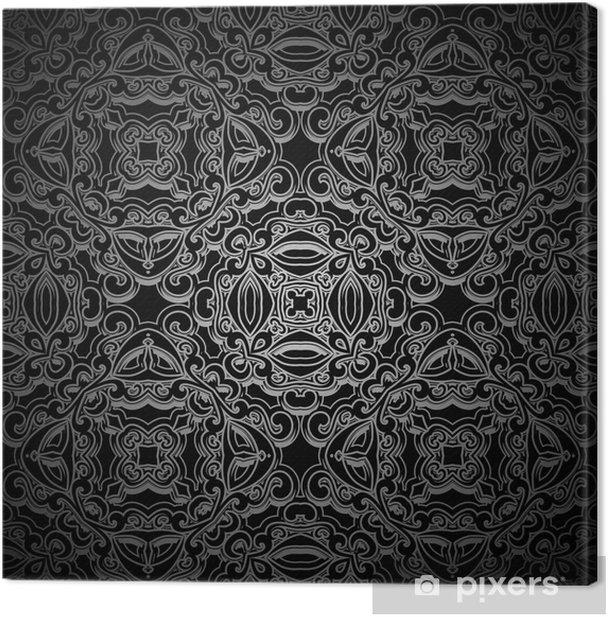 Leinwandbild Ornamental schwarzem Hintergrund, nahtlose Muster - Hintergründe