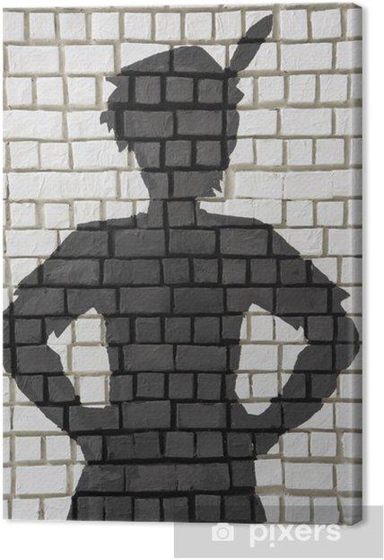 Leinwandbild Painted Silhouette Peter Pan An Der Wand Pixers