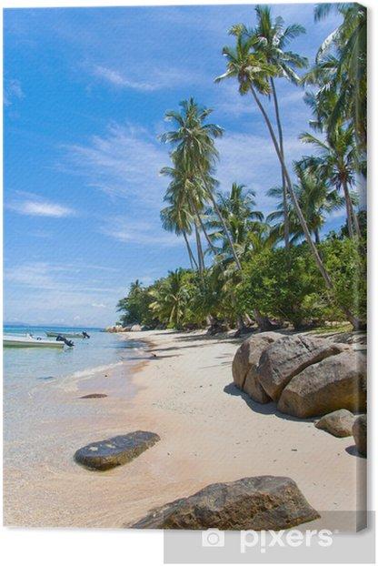 Leinwandbild Palmenstrand Felsen - Urlaub