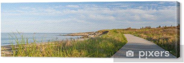 Leinwandbild Panorama von Holz-Pfad auf dem Strand - Themen