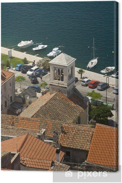 Leinwandbild Panorama von Sibenik Dächer, Kirchturm und Küste - Europa