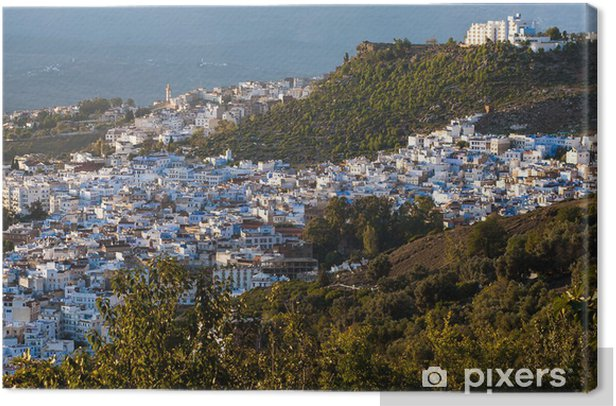 Leinwandbild Panoramablick auf blauen Stadt Chefchaouen, Marokko - Afrika