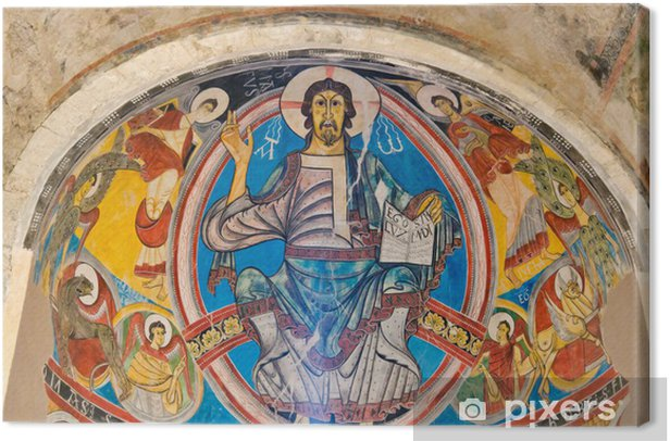 Leinwandbild Pantokrator in Sant Climent de Fee, Katalonien Spanien - Europa