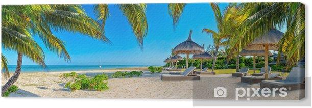 Leinwandbild Paradise Strand mit Palmen und Sonnenschirm - Palmen