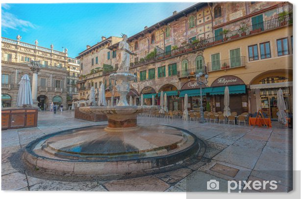 Leinwandbild Piazza delle Erbe und der Palazzo Maffei, Verona, Italien - Urlaub