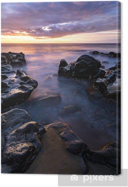 Leinwandbild Plage de l'Etang Sale au coucher de soleil - Insel Réunion - Wasser