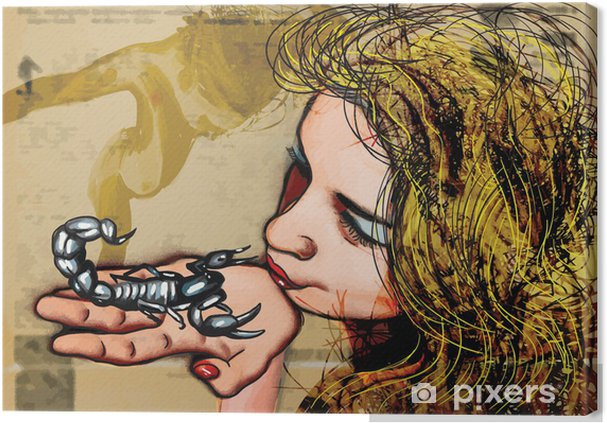 Leinwandbild Play With Fire Kiss Skorpion Hand Gezeichnet Vektor