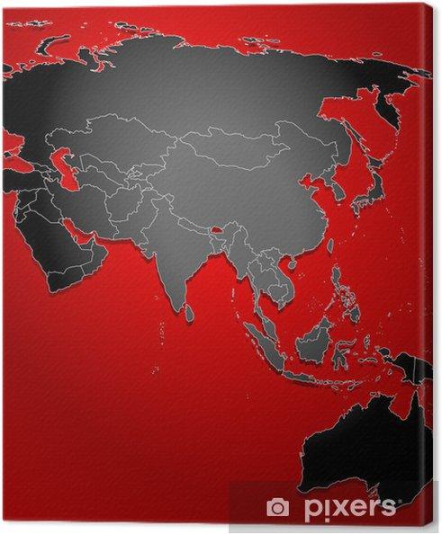 Politische Karte Asien.Leinwandbild Politische Karte Von Asien Indonesien Und Australien