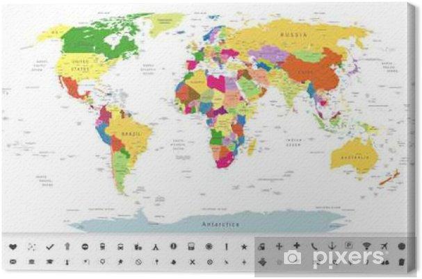 Leinwandbild Politische Weltkarte mit Navigationssymbole - Reisen