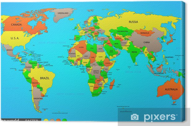 Leinwandbild Politische Weltkarte - Grafische Elemente