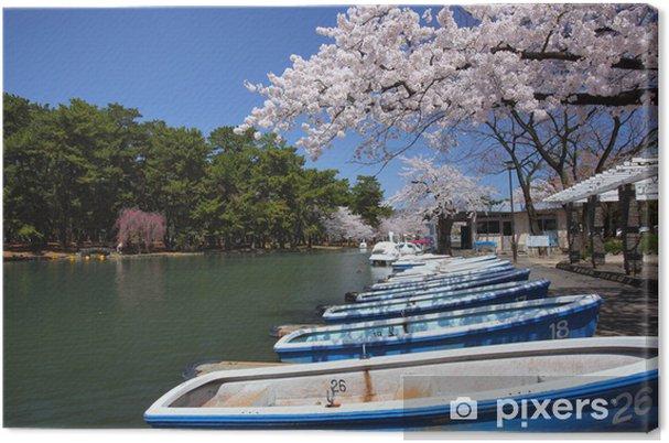 Leinwandbild Pond und Sakura - Jahreszeiten