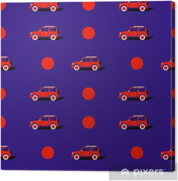 Leinwandbild Pop-Art-Muster mit dem Auto. - Transport