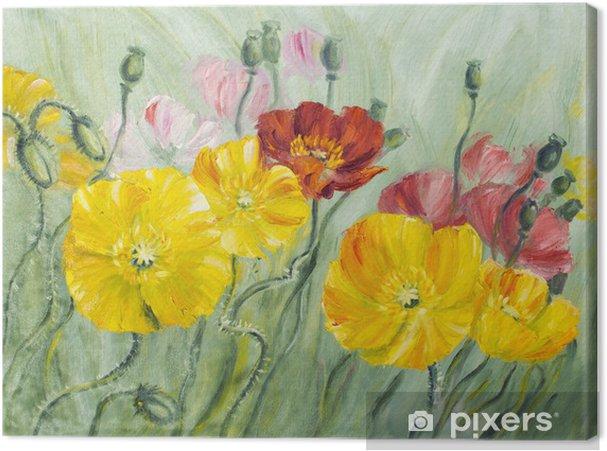 Leinwandbild Poppies, Öl auf Leinwand - Blumen
